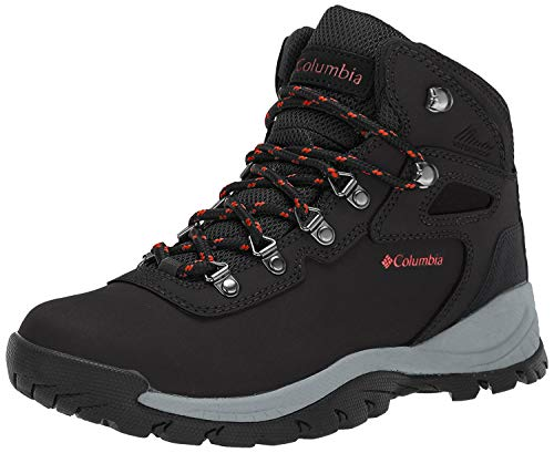 Columbia Newton Ridge Plus - Botas de Senderismo para Mujer, Black, Poppy Red, 8 M US